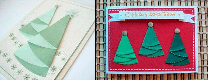 Christmas card na may napkin Christmas tree.