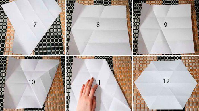 Snowflakes dalam kelas induk origami