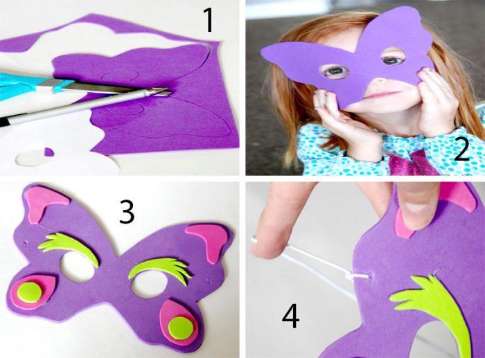 Masker untuk anak-anak melakukannya sendiri, kelas master langkah demi langkah