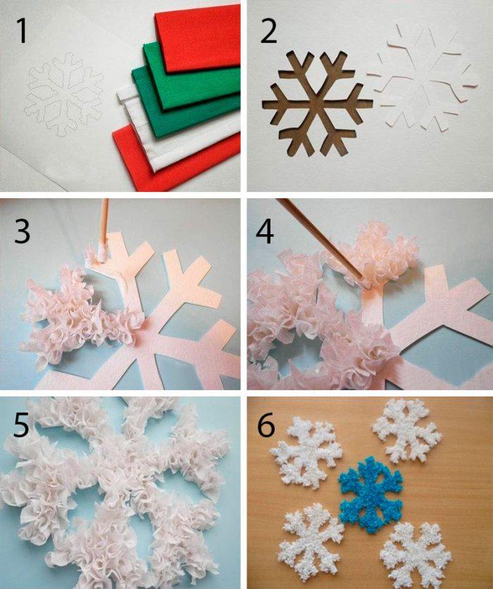 Lumihiutale valmistettu aallotetusta paperista