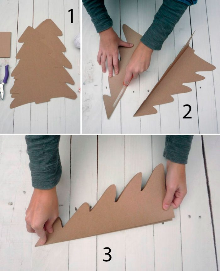 Make a Christmas tree from cardboard