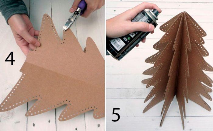 Faça uma árvore de Natal de papelão