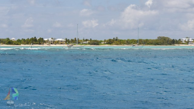The entrance into the lagoon can be hard to see in rough weather