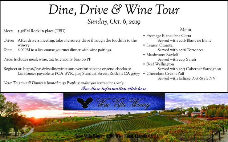 Dine, Drive & Wine Tour @ Wise Villa Winery | Lincoln | California | United States