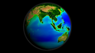 This animation depicts the 10-year average from 1997 to 2007 of SeaWiFS ocean chlorophyll concentration and land Normalized Difference Vegetation Index (NDVI) data on a rotating globe.
