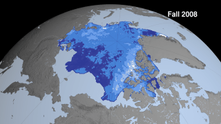 This sequence shows Arctic sea ice thickness derived from fall campaigns from the ICESat satellite. While the sea ice extent might look similar from year to year this thickness data shows dramatic thinning especially near the North Pole (shown in dark blue). This image was generated with data acquired between Oct 4 - Oct 19, 2008.