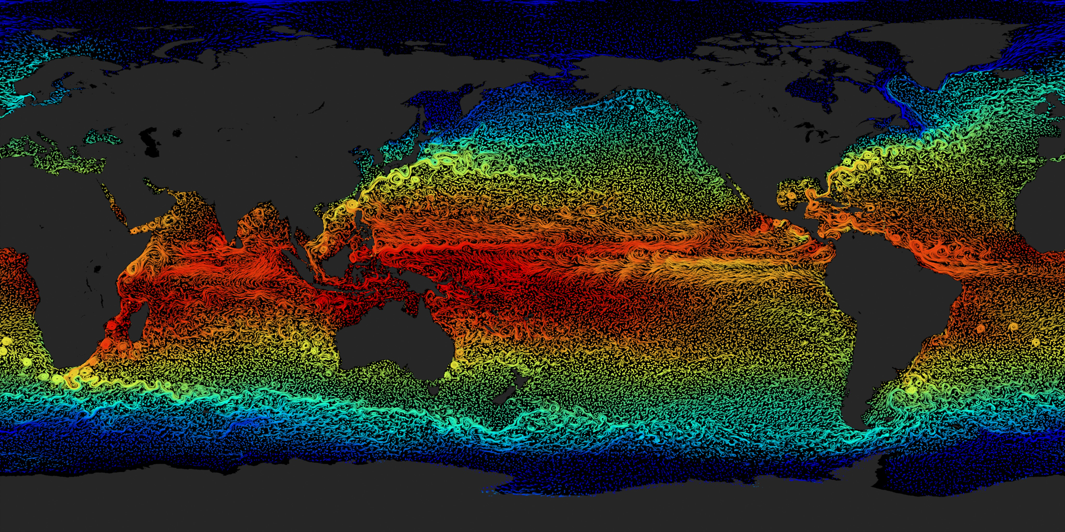 Svs Flat Map Ocean Current Flows With Sea Surface
