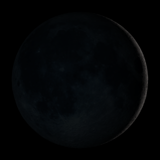 New Moon. By the modern definition, New Moon occurs when the Moon and Sun are at the same geocentric ecliptic longitude. The part of the Moon facing us is completely in shadow then. Pictured here is the traditional New Moon, the earliest visible waxing crescent, which signals the start of a new month in many lunar and lunisolar calendars.