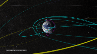 This movie shows NASA's Earth-orbiting heliophysics fleet as of 2013, from near Earth orbit out to the orbit of the moon. These missions study the thermosphere, ionosphere, and mesosphere; geospace and the magnetosphere; the heliosphere; and take solar observations and imagery. The Van Allen Probes (marked here as RBSP-A and RBSP-B) are in a highly elliptical orbit, shown in blue, around the Earth. Working as a team, these spacecraft provide the most comprehensive picture ever provided of how our sun interacts with our world. Credit: NASATo download the video, click here.