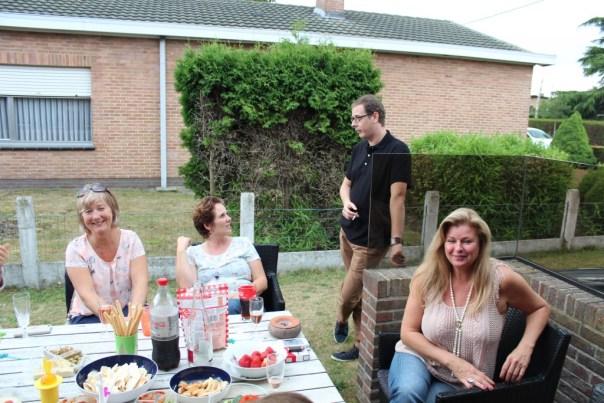 15 Juli 2015. Afscheid ex-GE collega's bij Martine thuis. Annemie, Ellen, Frederik en Myriam
