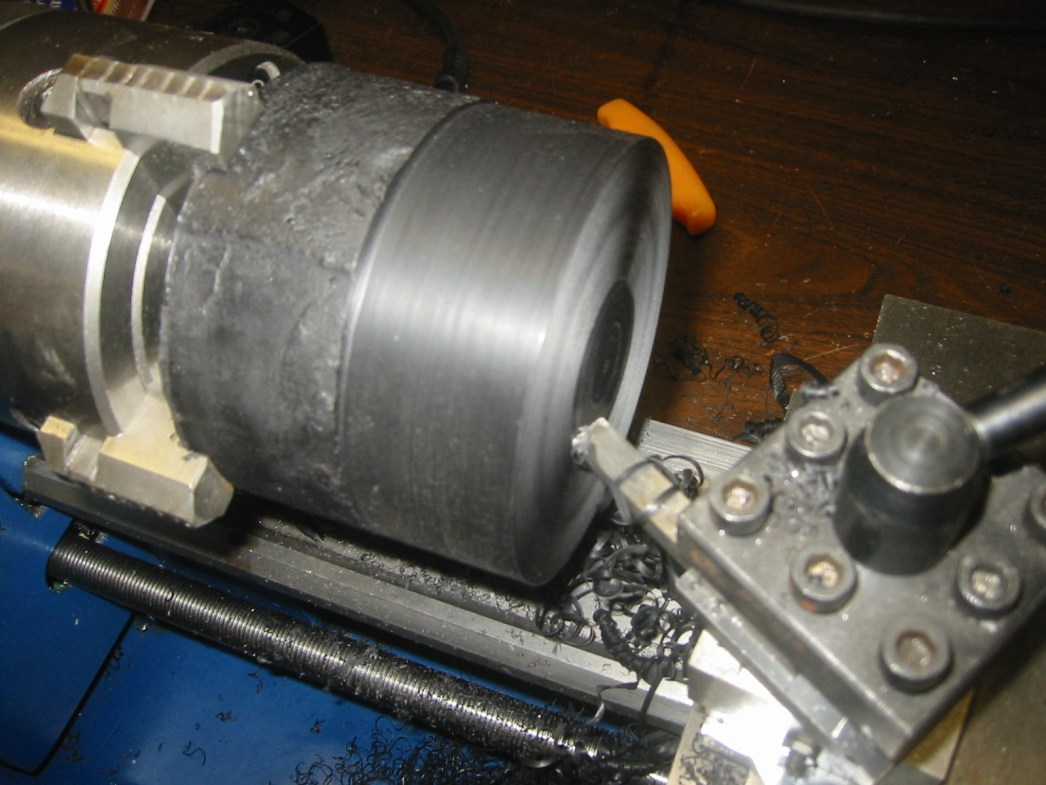 (5) Machineable wax in the lathe.