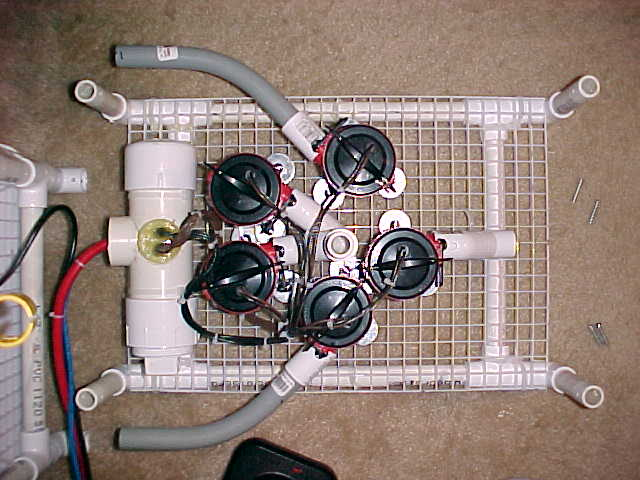 Top view of the 5 bilge pumps. Pipe connected to the pumps directs the thrust.