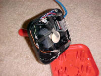 9 Volt battery housed in the base of the joystick  powers the relay switches