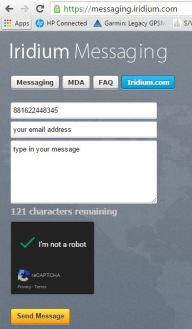 Iridium messaging filled out