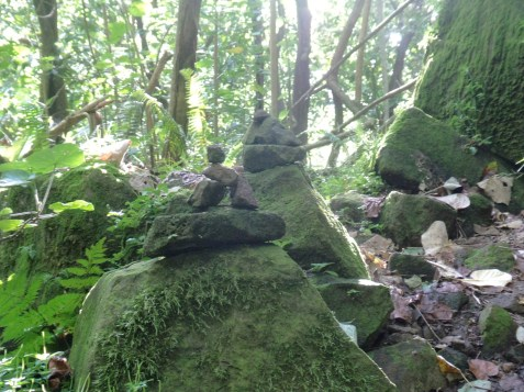 The stone cairns marking the path to the waterfall