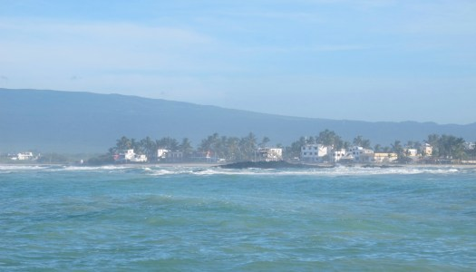 Big swells and surf off the township of Isabela