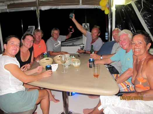 the crews of Toucan, Rehua, Bladerunner and Tinkerbelle enjoying a catch-up at Hana Moe Noa Bay