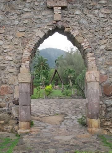 The cathedral courtyard, Nuku Hiva