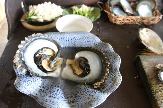 An opened oyster, showing the gonad and mantle
