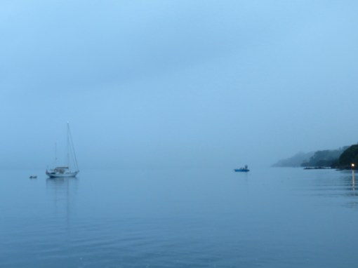 foggy morning at the Cousteau Resort anchorage