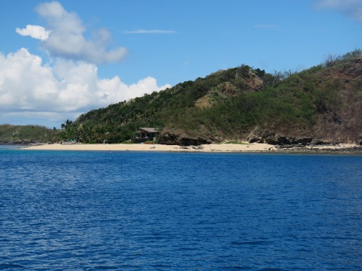 View towards Manta Ray resort from the anchorage off Drawaqa Island