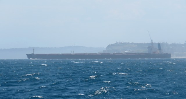 Just have to avoid this big boy coming out of the harbour!