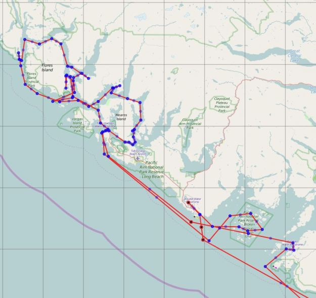 Detailed route of Barkley and Clayoquot Sounds.