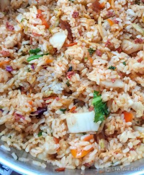 Kimchi Fried Rice for dinner with Asian pickled vegtables
