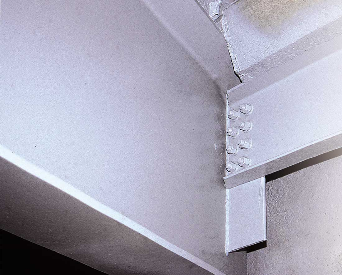 photo of painted structural steel and concrete joints