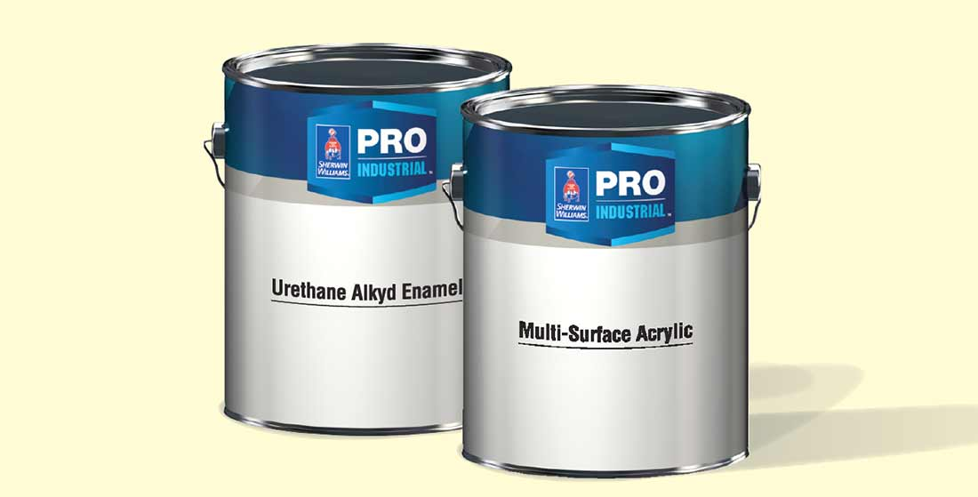 The two Pro Industrial products shown are Multi-Surface Acrylic E/S and Urethane Alkyd Enamel