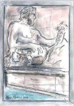 Karl Lagerfeld Sketch of Fontana Della Dea Roma