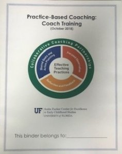 """A training manual titled """"Practice-Based Coaching: Coach Training"""" above a graphic illustrating effective teaching practices"""