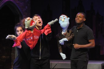 "Jenna Berk and Alex Alferov as Nicky and Vaughn Ryan Midder as Rod in Constellation' ""Avenue Q."" (Stan Barouh)"