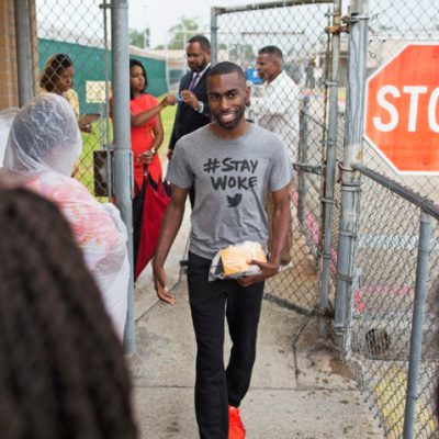 Black Lives Matter activist DeRay McKesson walks out of the Baton Rouge jail in Baton Rouge, La. on Sunday, July 10, 2016. The prominent Black Lives Matter activist, three journalists and more than 120 other people have been taken into custody in Louisiana over the past two days, authorities said Sunday, after protests over the fatal shooting of an African-American man by two white police officers in Baton Rouge. (AP Photo/Max Becherer)