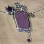Pendant necklace with amethyst druzy, semi-precious stones.