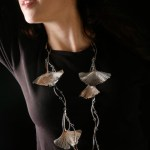 Sterling silver gingko necklace on model