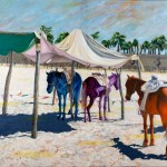 Oil painting of horses on beach.