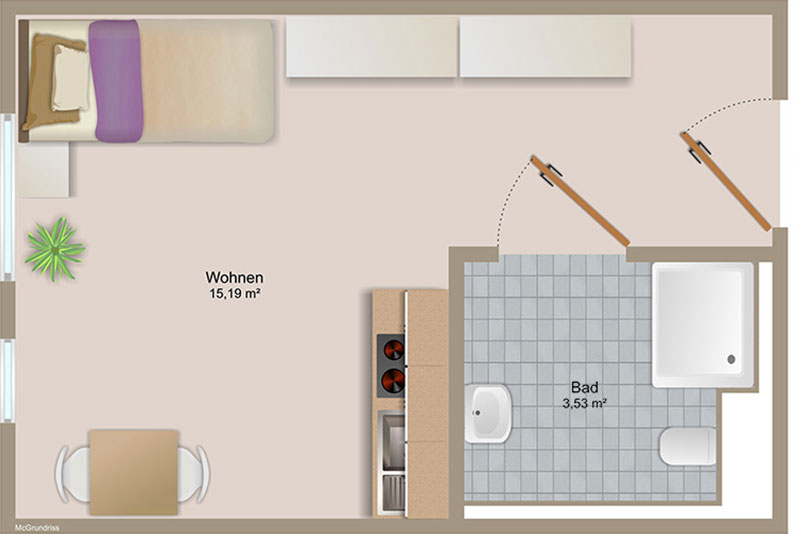 1-Zimmer Apartment ab 19m² Grundriss - Swan35