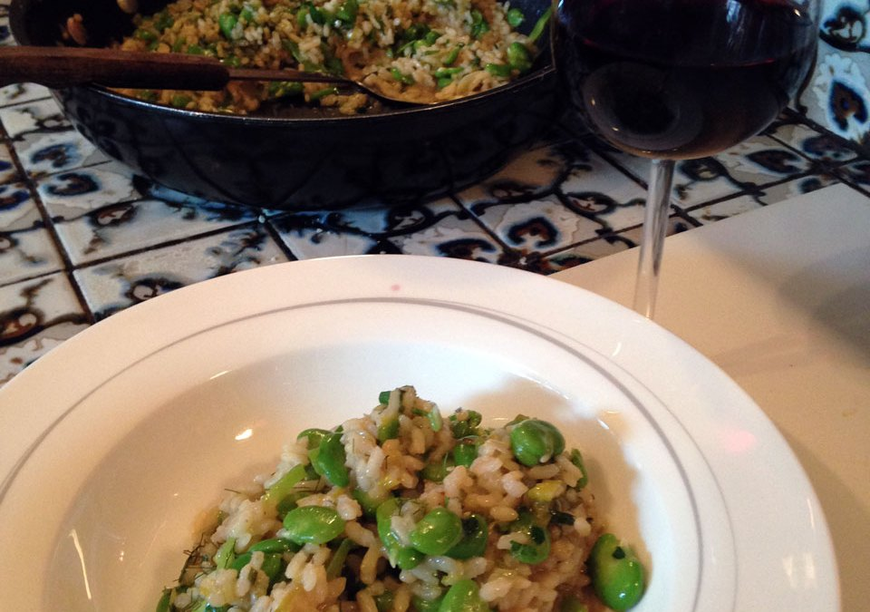 Broad Bean, Leek and Fennel Top Risotto: from Stephanie Alexander's Kitchen Garden Cooking with Kids