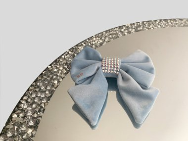 Blue Sailor dog bow tie made from velvet with a swarovski centre. Perfect for weddings