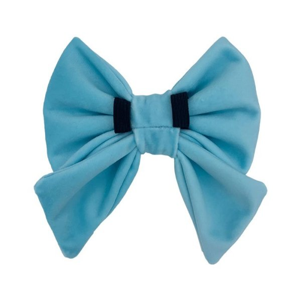 Aqua back side of the sailor bow showing the 2 elastic loops to pull the dog collar through. Beautiful designer dog bow in velvet