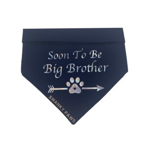 Soon to be big brother dog bandana in navy blue. This bandana is perfect for breaking the news to everyone with a surprise announcement