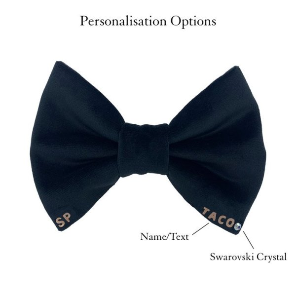 Black dog bow tie luxury velvet personalised with the dogs name bottom right. It also has the option of a swarovski crystal to bling the bow up Australia made