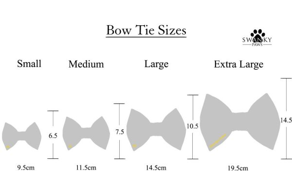 4 dog bow tie sizes from Small to Extra Large