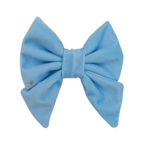 Light blue sailor dog bow tie front side showing the vibrant velvet colour.