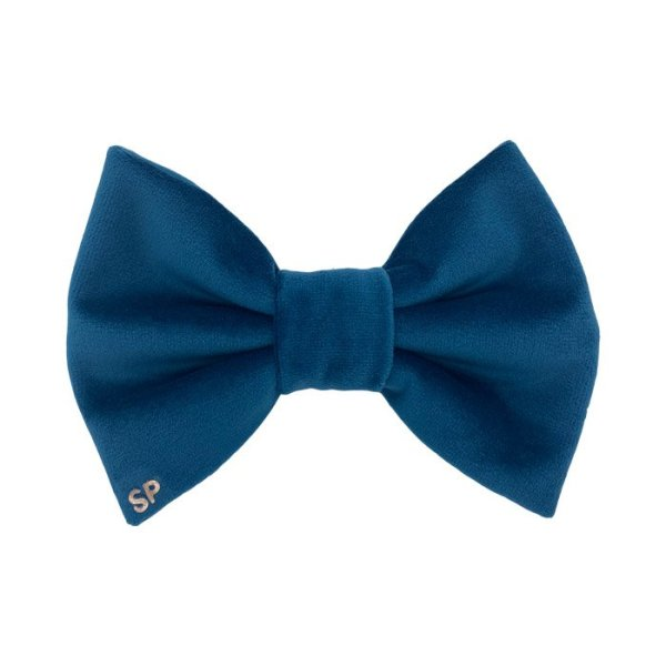 Teal dog bow tie made in Australia from designer velvet fabric