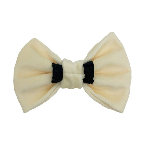 Designer dog bow tie with 2 elastic loops at the back for the dog collar to pull through