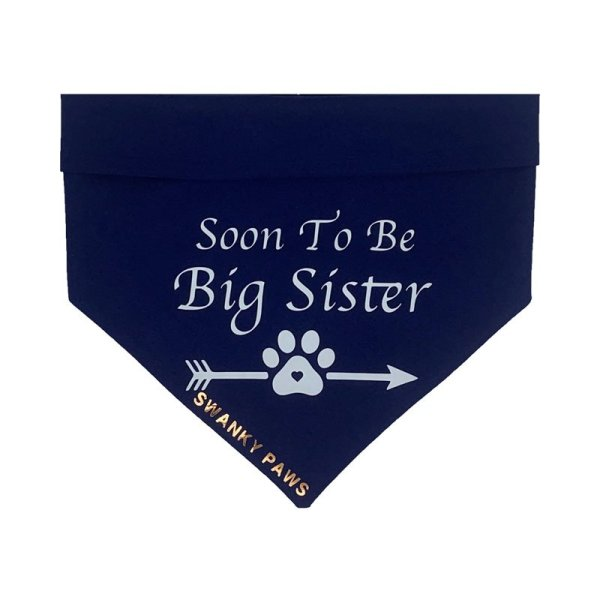 Soon to be big sister dog bandana with white vinyl on navy blue cotton from swanky paws