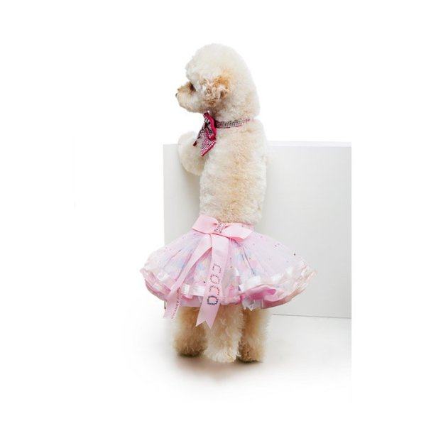 custom dog outfit showing Coco in her Tutu with Swarovski Crystals