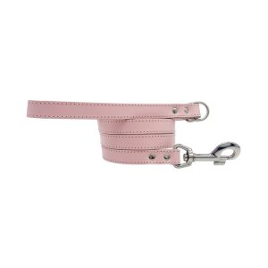 Designer leather dog leash all curled up from Swanky Paws